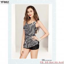Bộ liền đùi Yingfa họa tiết đen trắng YF802