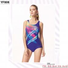 Bộ liền vát Yingfa xanh họa tiết bảy màu YF808
