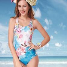 Áo bơi nữ  Yingfa hoa hồng xanh Y1611