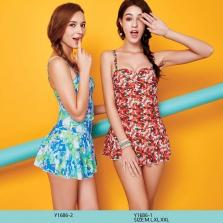 Áo bơi nữ  liền váy Yingfa họa tiết hoa Y1686